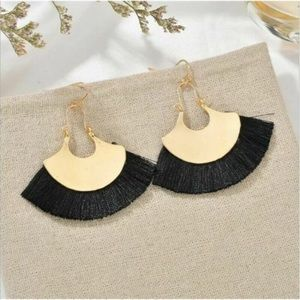 Anthropology Fan Tassal Crecent Earrings